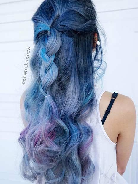 Blue Hair with Purple Peekaboo Highlights
