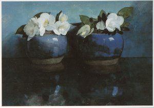 Jan Voerman - Witte Azalea's in blauwe gemberpotjes - A5312 - Postcard