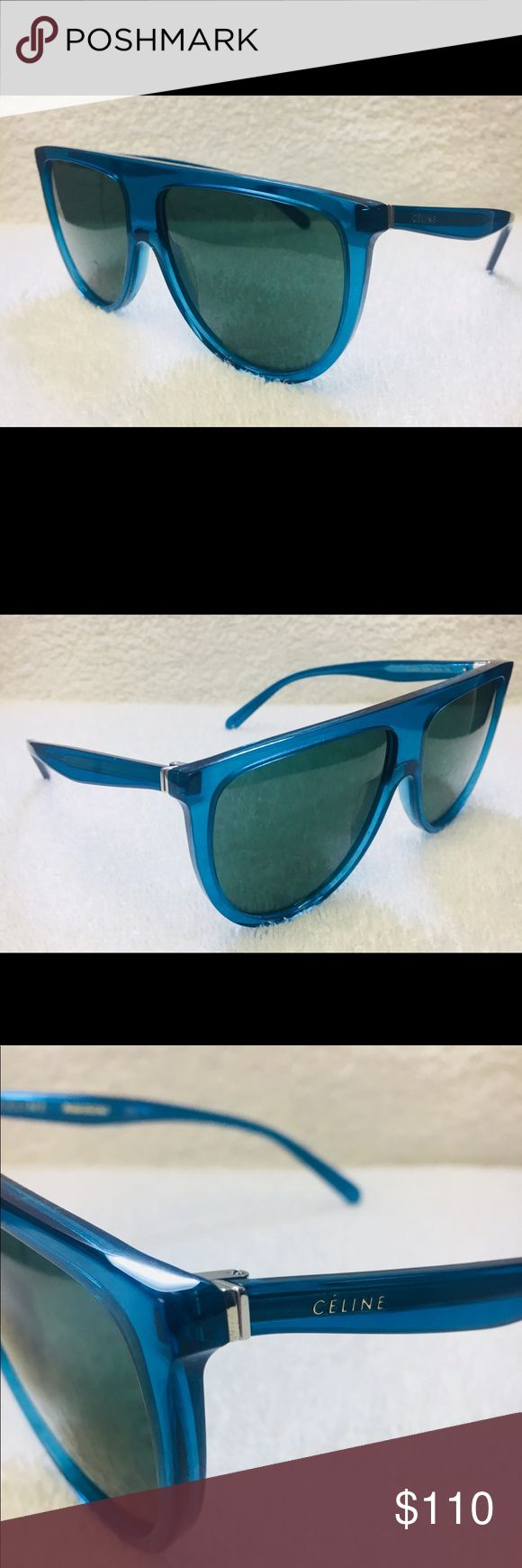 Celine CL41435/s Sunglasses in Turquoise Brand New 61/14/145  Original Céline THIN SHADOW CL 41435/S Sunglasses. women's model , geometric shape, 2018 Céline collection. acetate-rimmed glasses, turquoise/dark brown shaded colour. Sophisticated, inspiring, visionary. This is what the Céline eyewear collection is about, expressing the essence of the 21st-century woman. Vintage models which reveal a timeless elegance. Minimalism with a twist to show who you are. Frames are oversized, with…