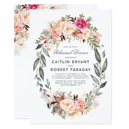 Blush Pink Floral Wreath Rehearsal Dinner Card - floral style flower flowers stylish diy personalize