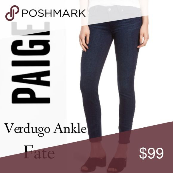 "PAIGE Jeans Verdugo Ankle in Fate 3D whiskers gently age the look of stretch-woven skinny jeans cast in a dark blue wash and cut to show off your cute kicks.  27 1/2"" inseam; 10"" leg opening; 9"" front rise; 12 1/2"" back rise (size 29)  Zip fly with button closure  Five-pocket style PAIGE Jeans Ankle & Cropped"