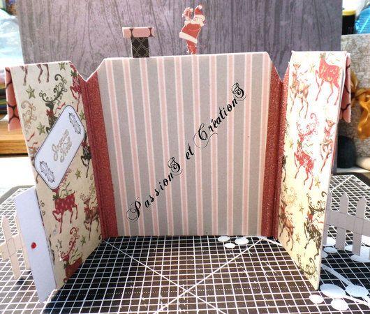Carte - Noël - 2016 - Concours - Magazine - Père Noël - Maison - Cheminée - Père Noël - Barrière - Porte - Fenêtre - Cerf - Etiquette - Papier Scrap