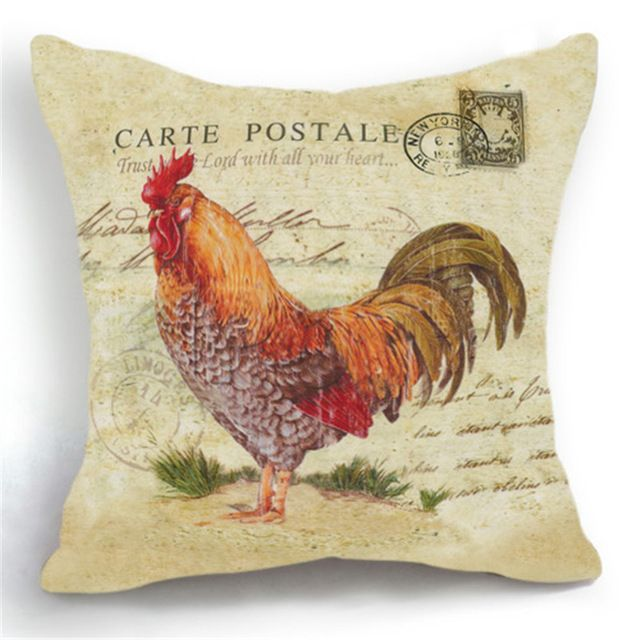 Maiyubo Scandinavian Pillow Cover with Invisible Zipper Vintage Cock Pillowcase for Sofa Rooster Cushion Cover Luxury Gift PC208