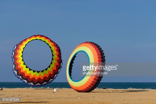 Stock Photo : A modern and big kite festival during hot and windy season