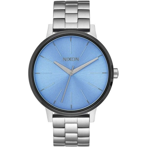 Nixon Kensington Blue Dial Ladies Steel Watch ($44) ❤ liked on Polyvore featuring jewelry, watches, nixon wrist watch, nixon watches, analog wrist watch, steel jewelry and round watches