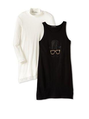 55% OFF Monnalisa Girl's Mustache Dress Set (Black/Cream)