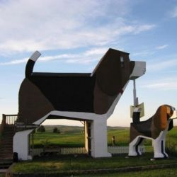 Dennis and Frances, owners of this unusual bed and breakfast obviously loves dogs so much they made the Word's Biggest Beagle hotel.