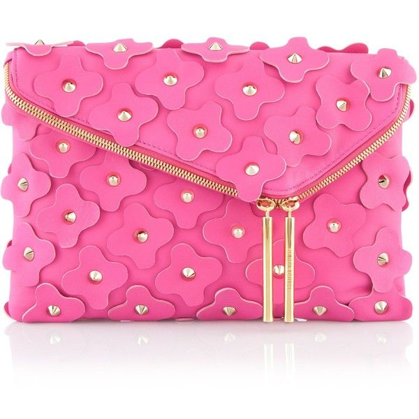 Henri Bendel Debutante Asymmetric Floral Clutch found on Polyvore