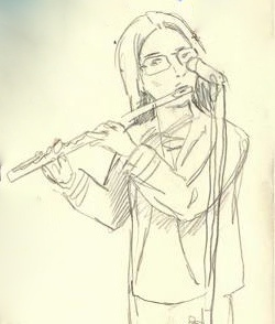 Hannah Sterry playing jazz flute. Artist: Jazz Greenhill Illustration