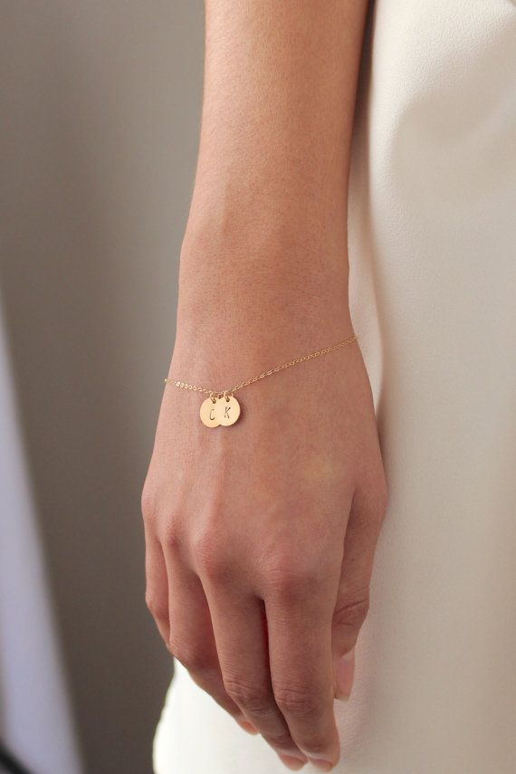 Gold Two Disc Bracelet by powderandjade  It can be your initials or an initial for you and a loved one or best friend. Also great for children or grandchildren's initials.