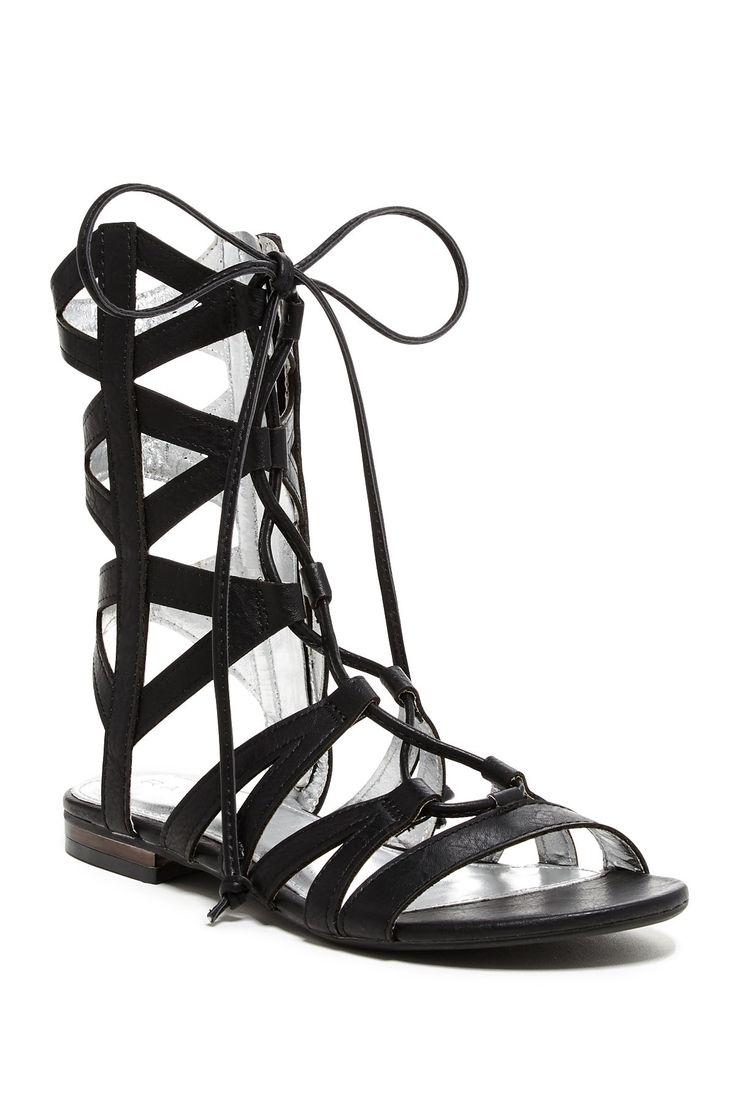 Black Gladiator Tie Strap Sandals