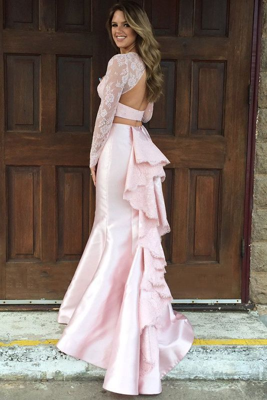 Chic Vinatge Long SleeveTwo Piece Lace Trumpet Satin Prom Dress Keyhole Back