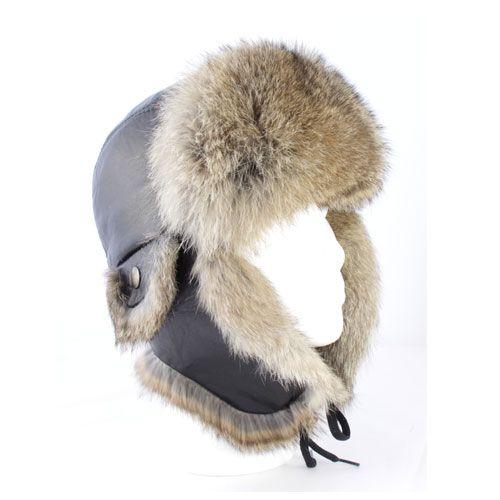 Natural rabbit fur aviator hat / Chapeau aviateur lapin lièvre