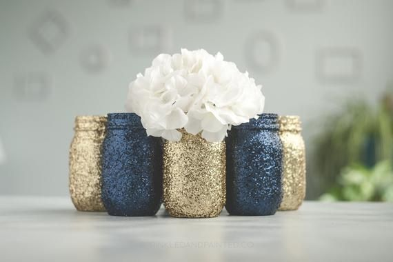6 Navy Blue and Gold Glitter Vase Wedding Centerpieces, Glitter Mason Jars, Navy and Gold Party Deco