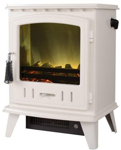 £200 ELECTRIC STOVE WHITE LED LOG 2KW HEAT OUTPUT LOG FIRE WHITE ENAMEL STOVE BURNER   eBay