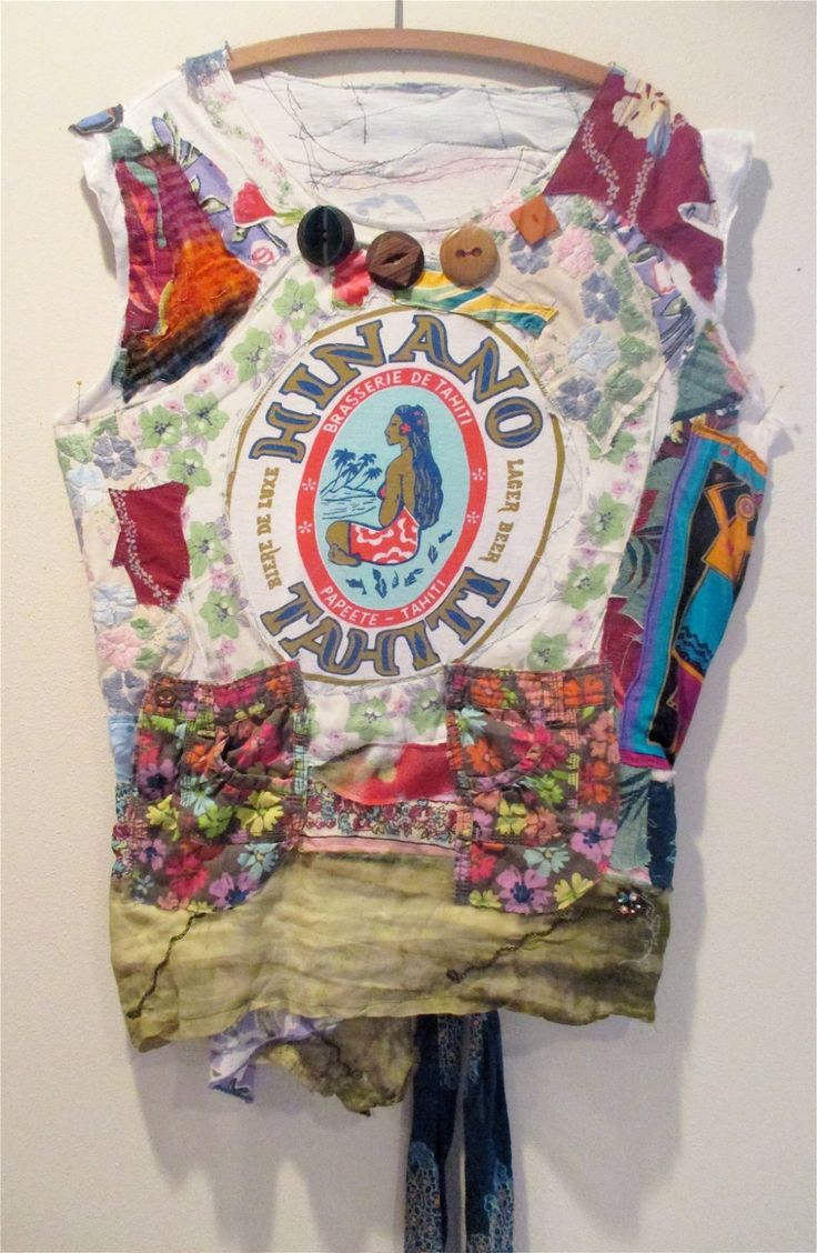 TAHITIAN Hinano COLLAGE Clothing - Bright Color - Altered T SHIRT Linens Textile Fiber - Embroidery Applique  // mybonny random scraps of fabric