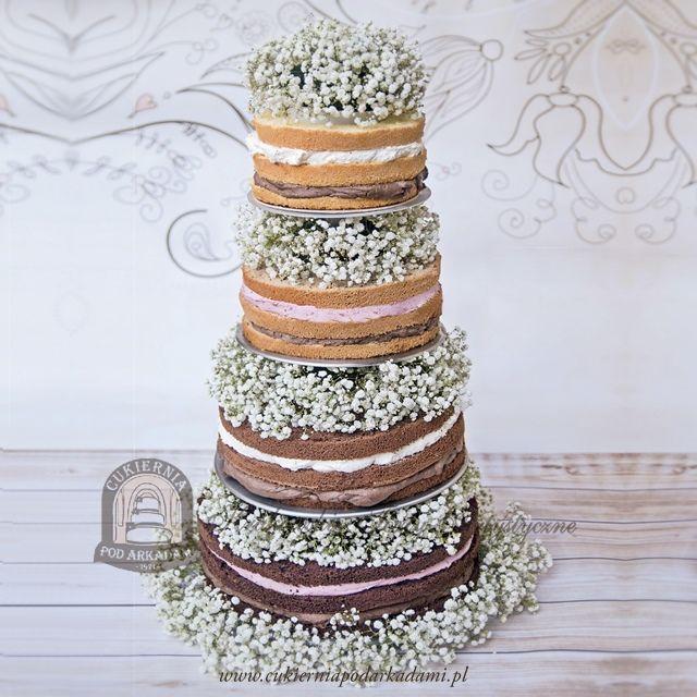 13BW. Naked cake z gipsówką. Naked cake decorated with Gypsophila .