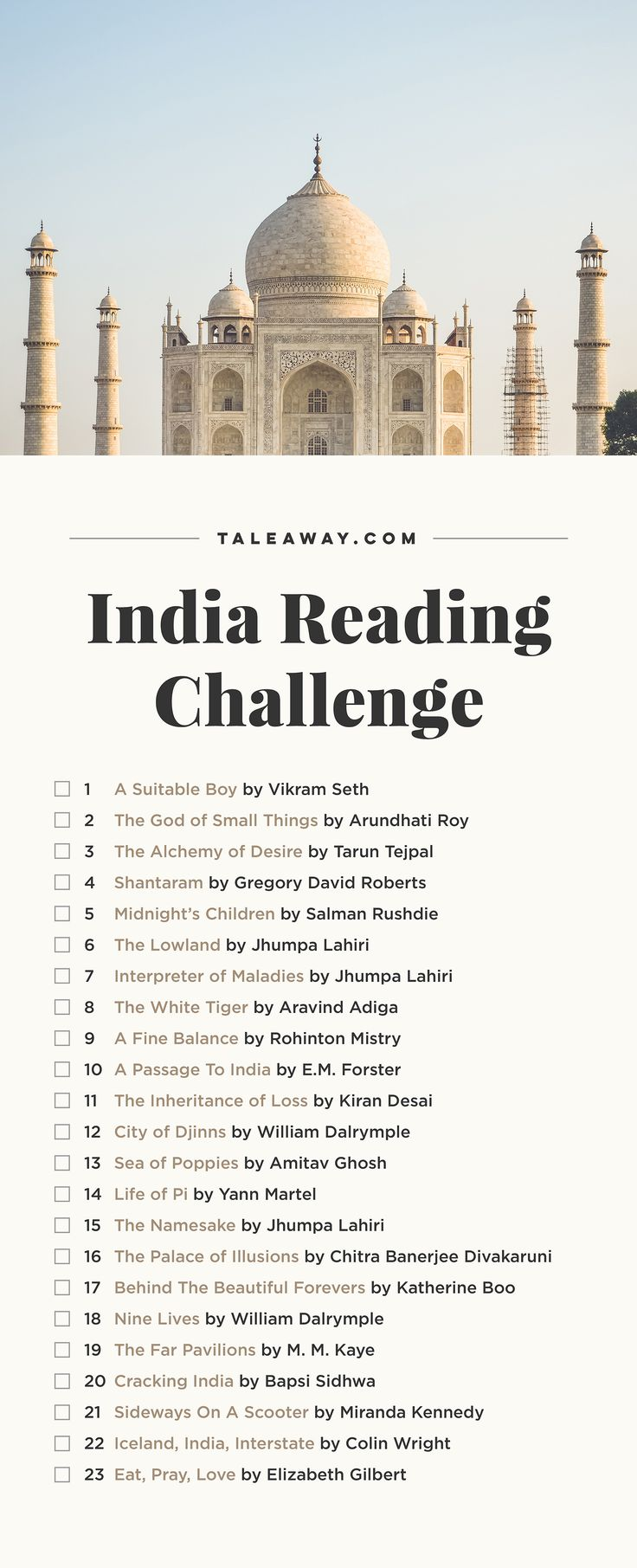 India Reading Challenge, Books Set In India - For more books visit www.taleway.com to find books set around the world. Ideas for those who like to travel, both in life and in fiction. reading challenge, india reading challenge, book challenge, books you must read, books from around the world, world books, books and travel, travel reading list, reading list, books around the world, books to read, india books, india books novels, india travel