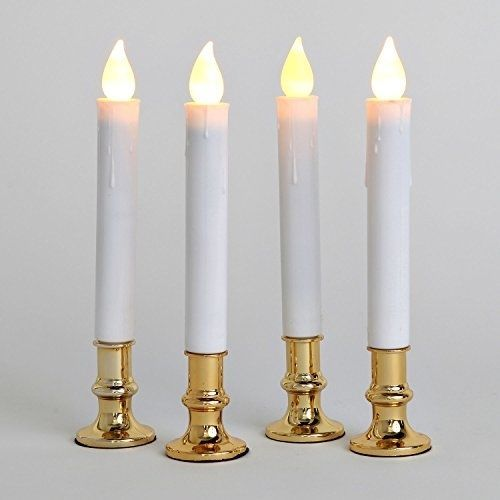 Set Of 4 Extra Bright Flameless Taper Candles With Auto Timer And Removable #LampLust