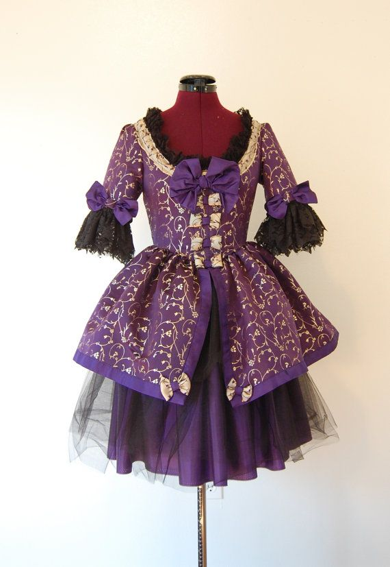 Royal purple and Gold Victorian Rococo dress mini marie antoinette ...