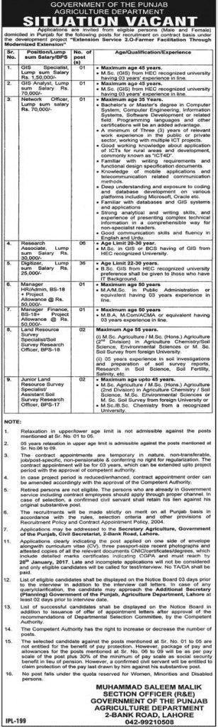 Agriculture Department Punjab Jobs 2017 has recently opened for the project of Extension Services 2.O- Farmer Facilitation Through Modernized Extension.
