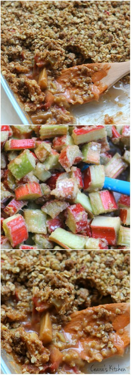 Gluten Free, Healthy Rhubarb Crisp made with absolutely zero refined flour! This Rhubarb Crisp makes the perfect Spring and Summer dessert with a thick crumble topping!
