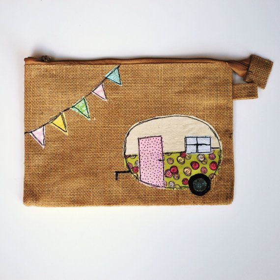 Vintage Camper Trailer Pouch Zipper Cosmetic by CreativeJunkee. I love this & would love to have one!!! Sooooo cute!