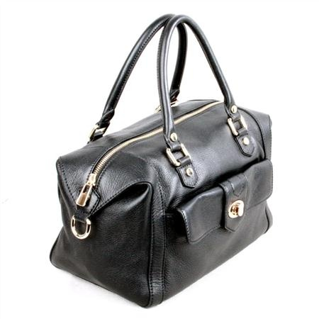 Karla Hanson - Black Satchel Bag - $199.00/each This Ladies Fashion Satchel Bag is made from cow leather with a golden finish, approximately 29.5 x 17 x 19-15 cm. Presented by www.ecomcreator.com