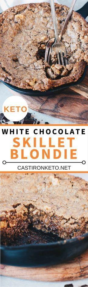 This White Chocolate Keto Skillet Blondie is packed full of healthy fats from almond butter and cacao butter. With chunks of dark chocolate this is one low-carb dessert that you'll be craving all the time.
