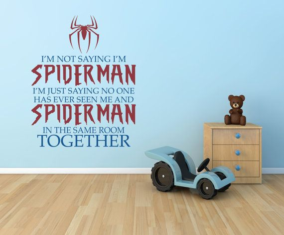 Hey, I found this really awesome Etsy listing at https://www.etsy.com/listing/207542835/spiderman-wall-decal-vinyl-lettering