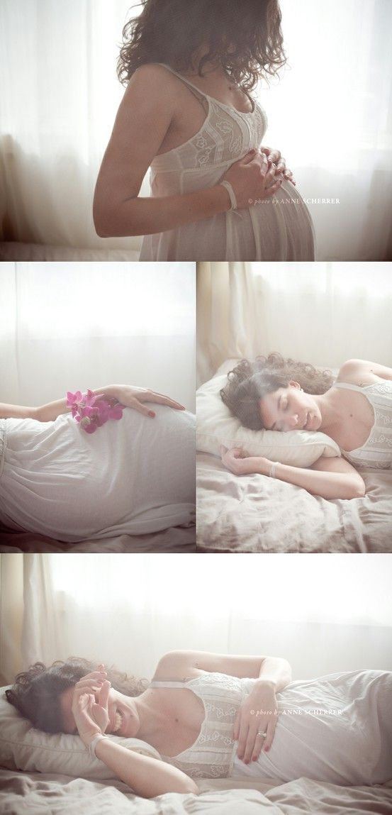 Window light, white gown...nap/pillow?  #maternity