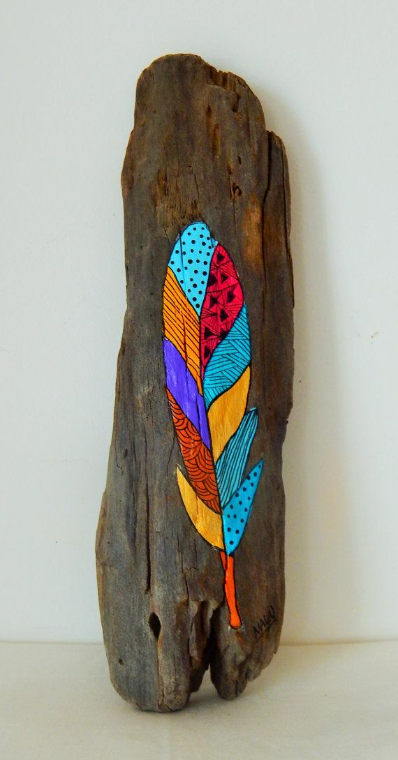 Hand painted reclaimed wood. Feathers by Malu Castro