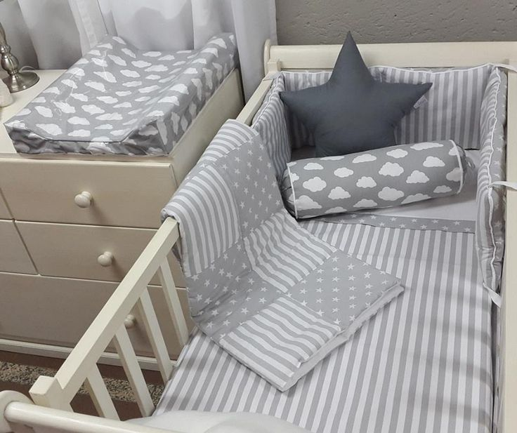 #Clouds and #Stripes are absolutely perfect for any #NeutralNursery. Add a tocuh of colour, or keep it simple in #GreyandWhite!   #BabyBedding #BabyLinen