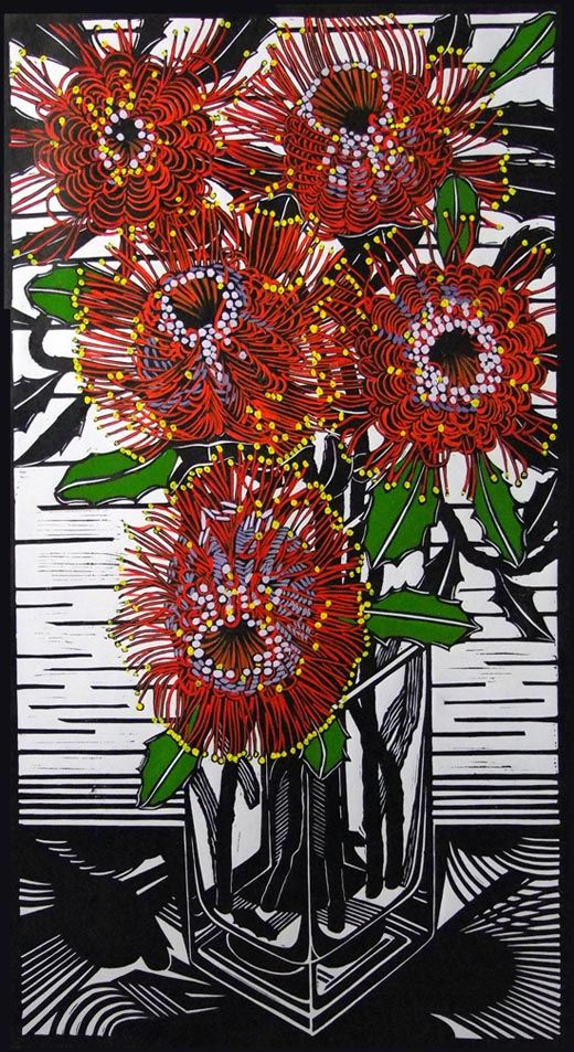 Banksia Coccinea by Gail Kellett, 40cm w x 75cm h