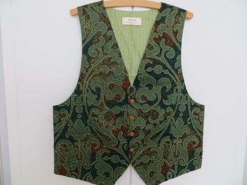 Ethnic Green Mens Waistcoat 40-42 with free full length  necktie.Handmade. £34.99