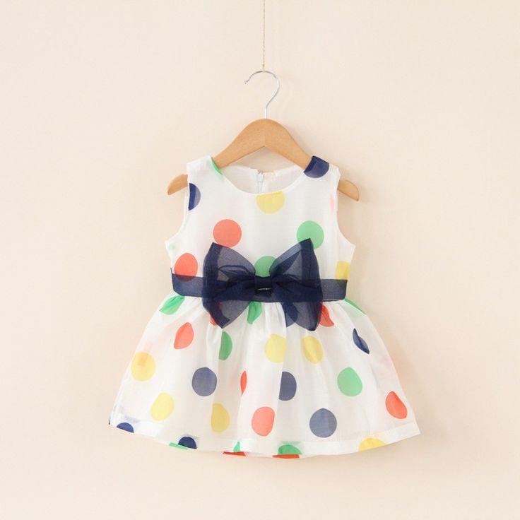 2017 bebek kız dress bebek yaz kolsuz yay nokta şifon dress bebek bebek sevimli moda giyim bebek 1st doğum günü dress