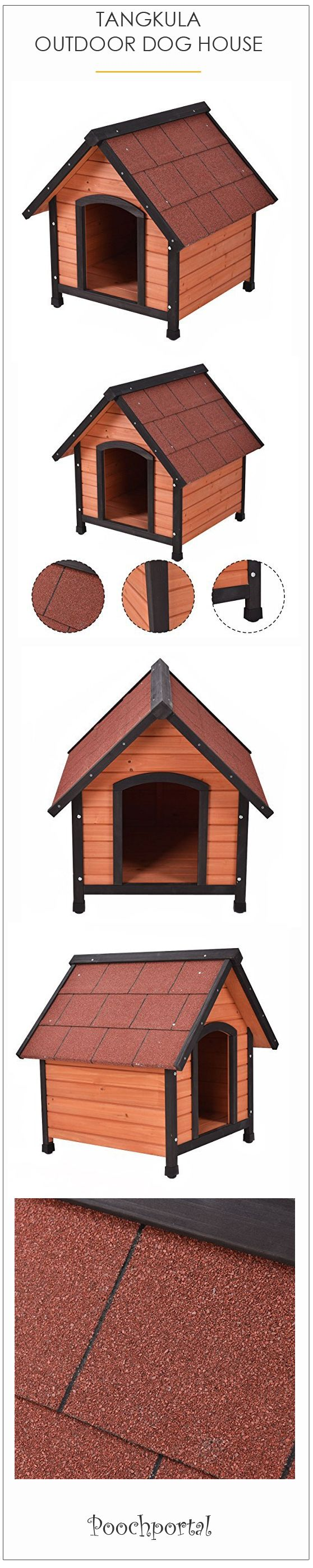 shop.poochportal.com/ Traditional dog house shape. Weatherproof solid fir construction with draft resistant tongue and groove design