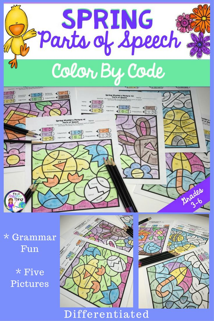 Spring Activities.  Fun grammar color by code pictures with two-way differentiation.  Five pictures, tips for use, definition of terms pages, two versions of each picture.  Perfect for introducing, practicing, or reviewing parts of speech.