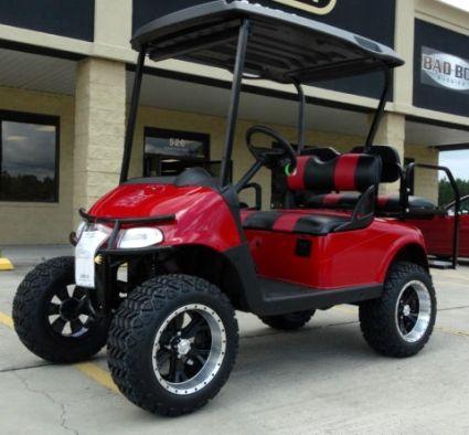 """EZGO 48 Volt Rxv Flame Red Golf Cart 2 Tone Seats 6"""" Lift"""
