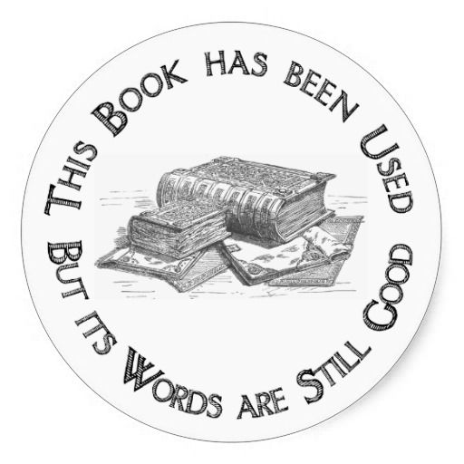 "Used Book Gift Bookplate  A fun bookplate for used book gifts. If you're giving a used book to a book-lover and don't want her to think you're trying to pass it off as new, just include this fun bookplate that tells the story. ""This book has been used, but its words are still good."" Good for fun, good for books, and good for the planet."