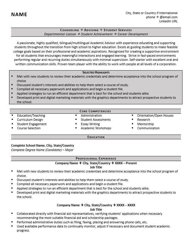 Image Result For Academic Advisor Resume