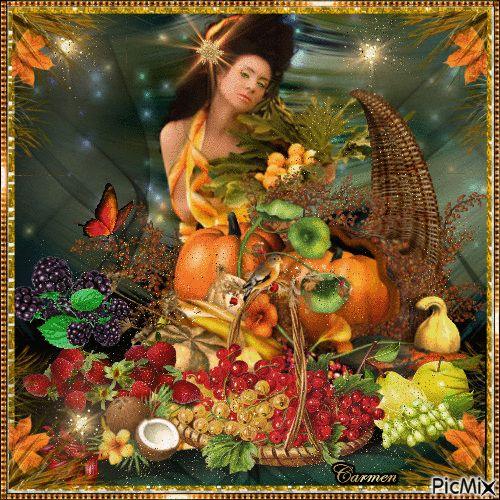 Lady con frutta e zucche