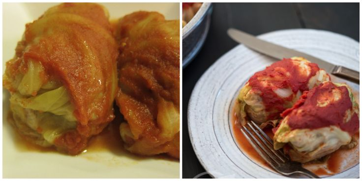Paleo Cabbage Rolls | stupideasypaleo.comIngredients 1 large head of green cabbage 1 lb (454 g) grassfed ground beef 1 lb (454 g) lean ground pork 1 tbsp coconut oil ½ white onion, diced finely 1-1/2 cups of riced or grated cauliflower ½ tsp garlic powder ½ tsp sea salt 1 tsp black pepper 8 oz (235 mL) crushed tomatoes 4 oz (118 mL) tomato sauce (not pasta sauce)