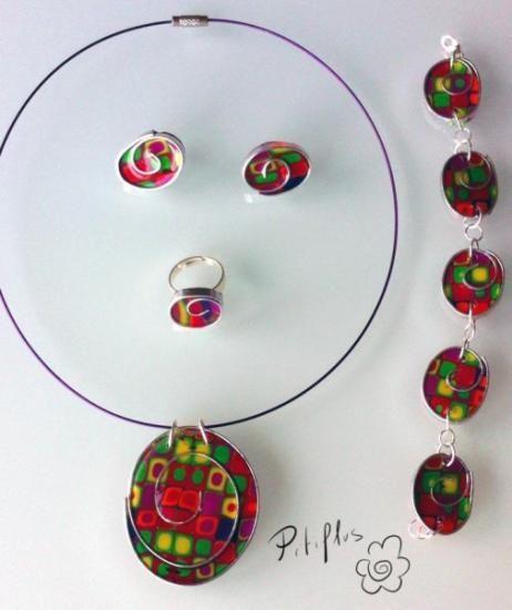 conjunto multicolor arcilla polimerica,alambre plano a mano