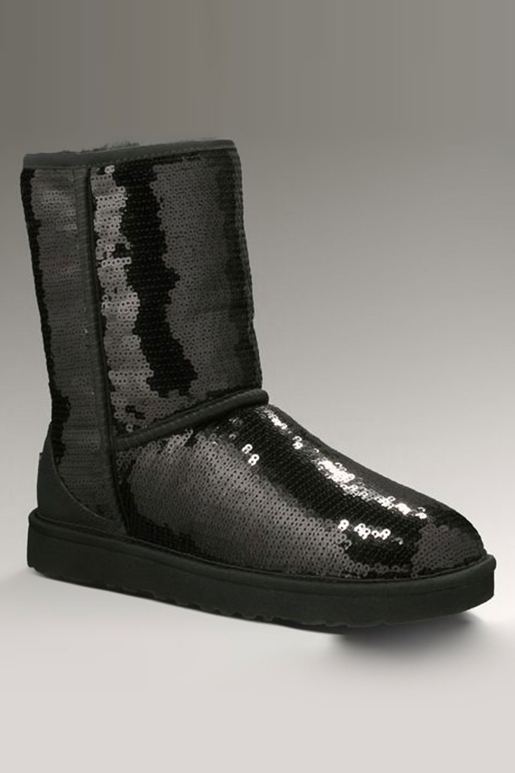 Ugg classic short sparkles in black beyond the rack