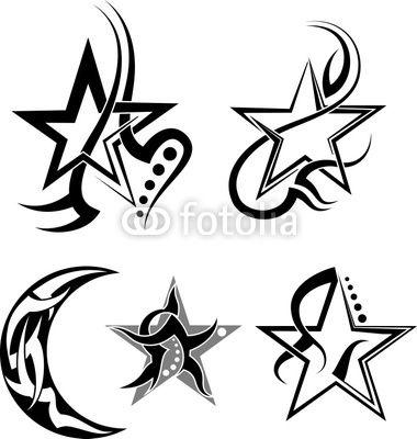 Star, Moon Tribal Tattoo