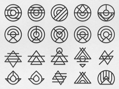 Line illustration style. Reminds me of futuristic hieroglyphics.