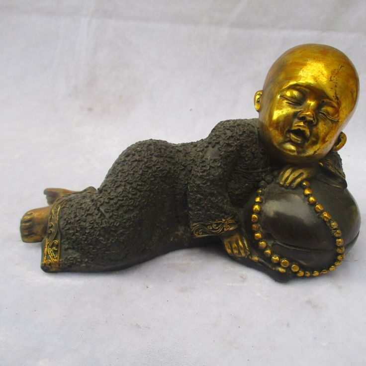 Collectible  Chinese Old Copper Carved Gold gilt Sleeping Buddha  Sculpture /Antique Buddha  statue #Affiliate