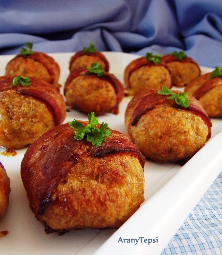Sárgarépás fasírtgolyók baconben sütve