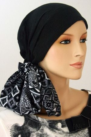 $27.50 - Black Gauze 2-Tone Head Wrap - @ hatsforyou.net